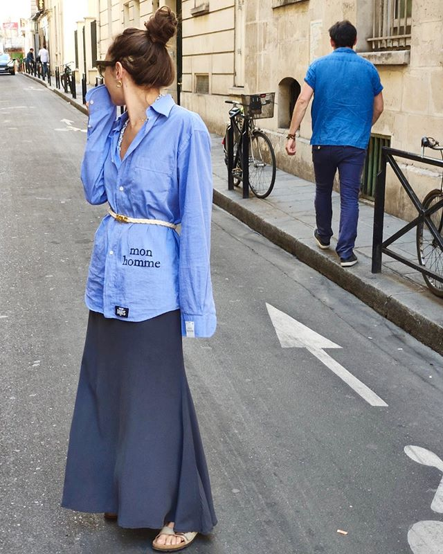 Shirt – mon homme / Skirt – Ondine  @maisondoris  how to wear men's shirts