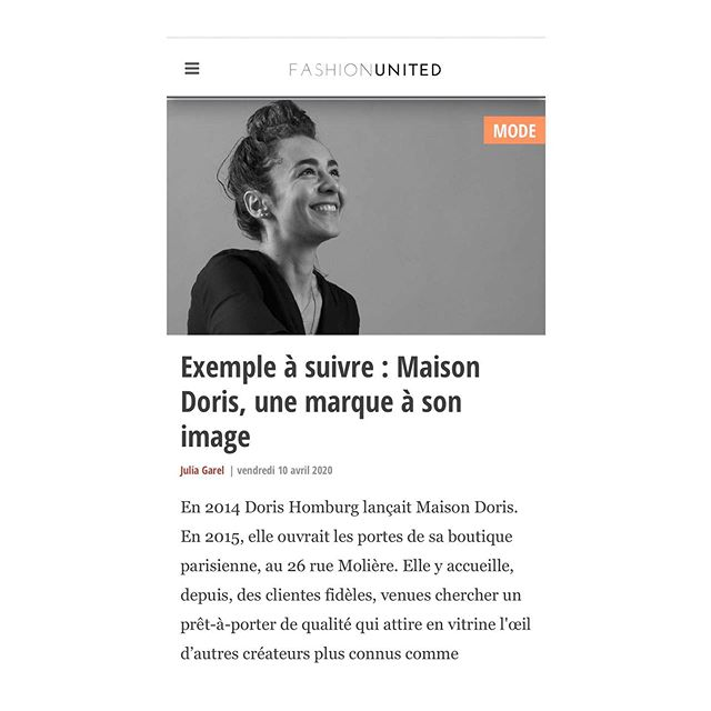 Aujourd'hui sur Fashionunited.fr merci 🙏🏼 @julia_garel pour la qualité de cette présentation 📝🎈 📸 @parisi.tony  https://fashionunited.fr/actualite/mode/exemple-a-suivre-maison-doris-une-marque-a-son-image/2020041023605